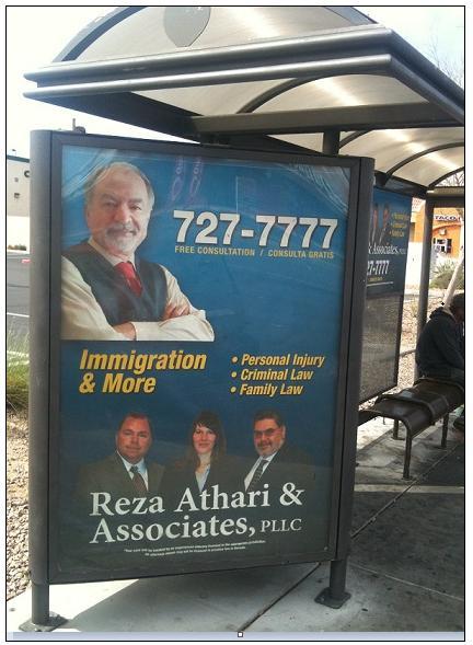 פרסום עורכי דין על תחנות אוטובוס