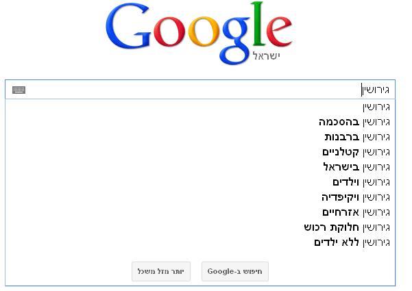 גוגל מנבאת מה תחפשו - כשאתם מקלידים את הביטוי גירושין